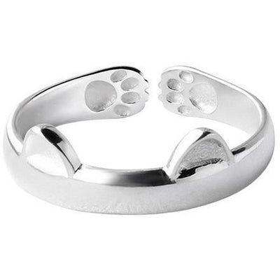 14k White Gold Plated Kitty Paw Ring-Rings-FreakyPet