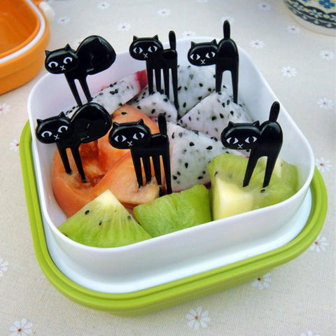 6pcs Black Cat Fruit Fork