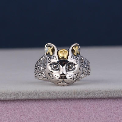 925 Sterling Silver Cat Pharao Ring-Rings-FreakyPet