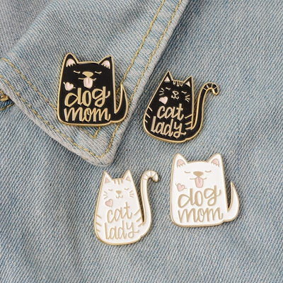 Dog Mom Cat Lady Brooches-FreakyPet