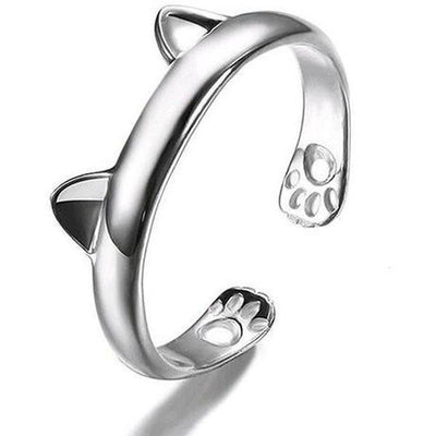 Cat Ring in 14k White Gold Plate-Rings-FreakyPet