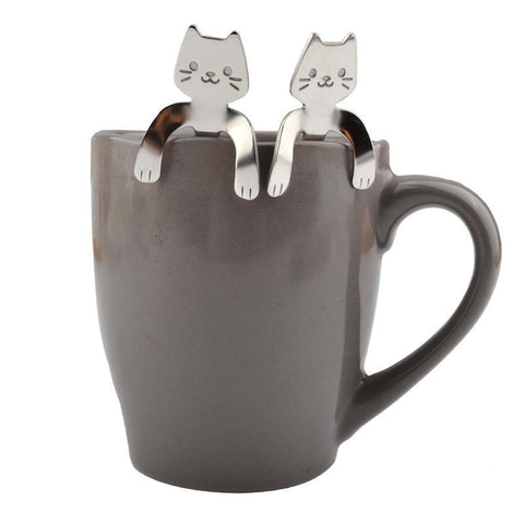 4 Silver Stainless Steel Cat Teaspoons