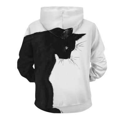 3D Black & White Double Side Printed Cat Unisex Hoodies