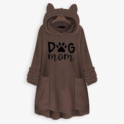 Dog Mom Fleece Oversize Hoodie With Flappy Ears-Home-FreakyPet
