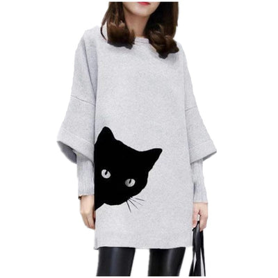 Cute Peeking Cat Print Dress