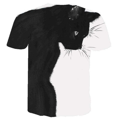 3D BLACK & WHITE DOUBLE SIDE PRINTED CAT UNISEX T-SHIRT-Home-FreakyPet