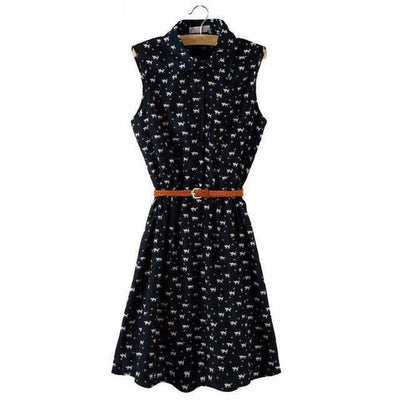 Airy Feline Cat Summer Dress-Dresses-FreakyPet