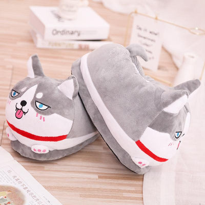 Cute Husky Plush Slippers-FreakyPet