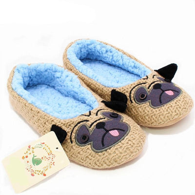 Indoor Pug Plush Slippers-Slippers-FreakyPet