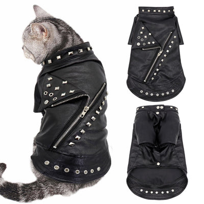 Punk Cat Leather Jacket-FreakyPet