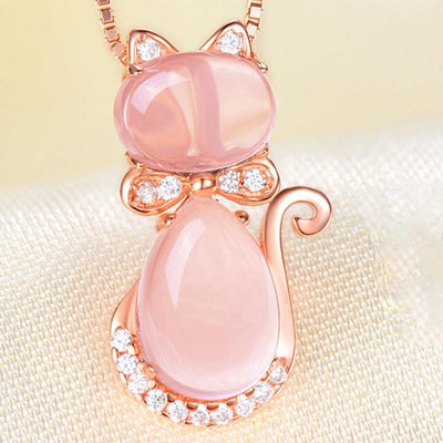Pink Quartz Crystal Rose Gold Plated Rhinestone Cat Necklace-FreakyPet