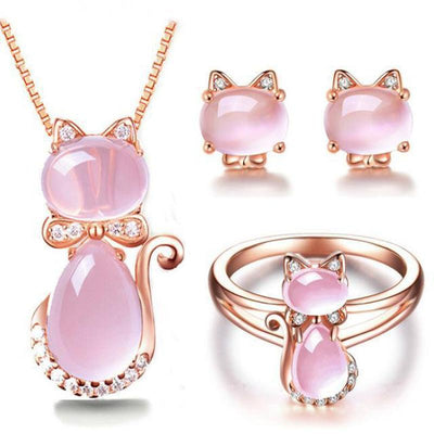 3pc Pink Quartz Crystal Rose Gold Plated Rhinestone Cat Jewelry Set-Rings-FreakyPet