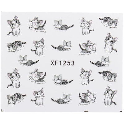 Grey Cat Nail Art Sticker-Stickers & Decals-FreakyPet