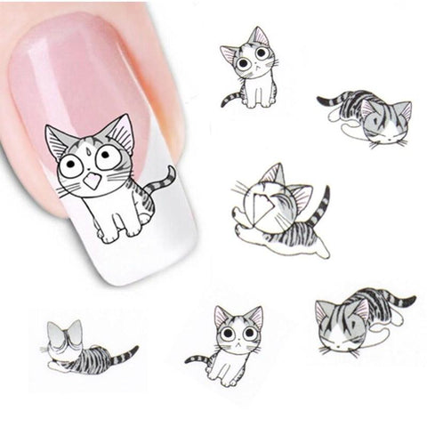 Grey Cat Nail Art Sticker