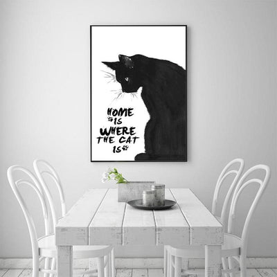 Home Is Where The Cat Is Canvas Wall Decor (Unframed)-FreakyPet