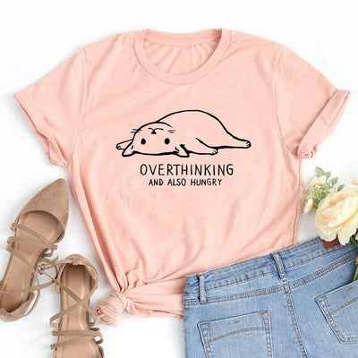 Overthinking And Also Hungry Cat T-Shirt-T-Shirts-FreakyPet