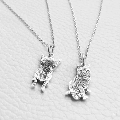925 Sterling Silver Custom Pet Necklace-Pendant Necklaces-FreakyPet