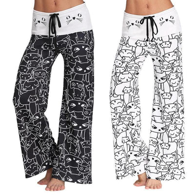 Cute Cat Print Wide Leg Pants-Pants-FreakyPet