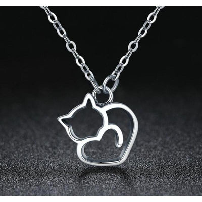 Platinum Plated 925 Sterling Silver Cat Heart Necklace-Pendant Necklaces-FreakyPet