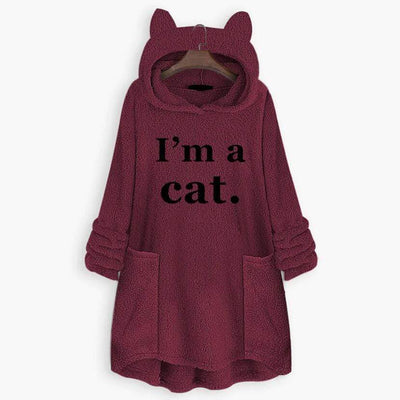 I'm A Cat Fluffy Fleece Oversize Hoodie With Cat Ears-FreakyPet