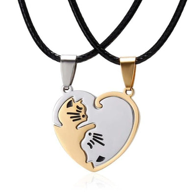 2 Pieces Yin Yang Cat Couple Necklace-Pendant Necklaces-FreakyPet
