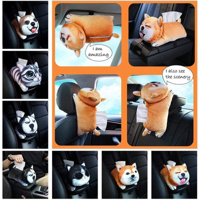 3D Cute Cat & Dog Plush Tissue Box