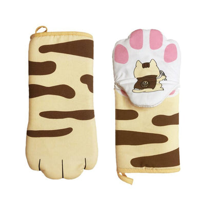 Cute Cat Paw Baking Gloves