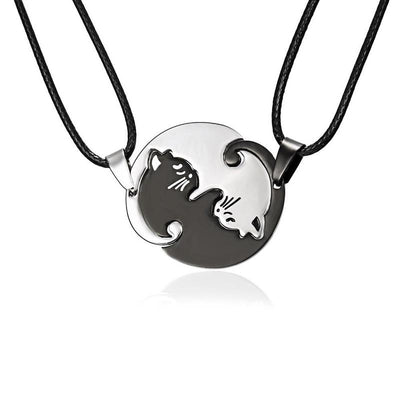 2 Pieces Yin Yang Cat Couple Necklace