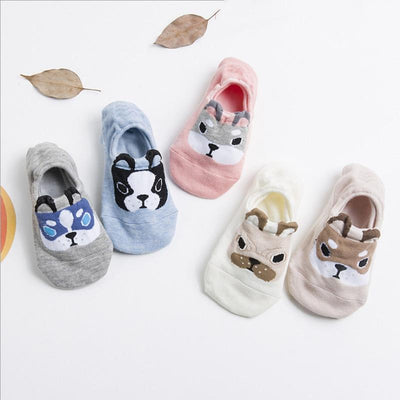 5 Pairs Cute Dog Cotton Boat Socks