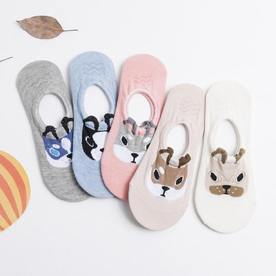 5 Pairs Cute Dog Cotton Boat Socks-Sock Slippers-FreakyPet