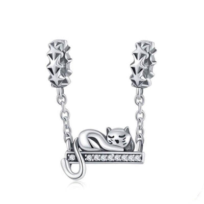 925 Sterling Silver Cute Kitty Charm + Bracelet-Charms-FreakyPet