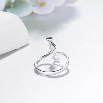 Adjustable Silver Cat Ring
