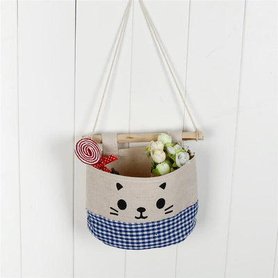 Linen Cat Hanging Storage Bag-Storage Bags-FreakyPet