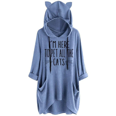 I'm Here To Pet All The Cats Oversize Hoodie With Cat Ears