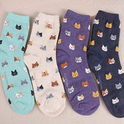 4 Pairs Cute Cat Face Cotton Socks