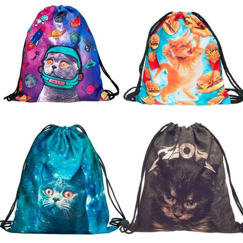 3D Cat Drawstring Bag