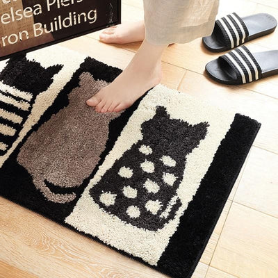 Black And White Cat Rug-FreakyPet