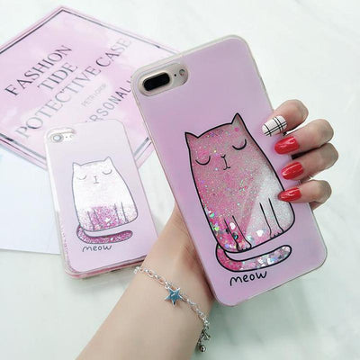 Cute Kitty Glitter iPhone Case-Fitted Cases-FreakyPet