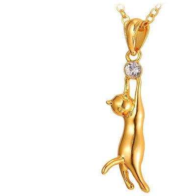 18K Gold- or Platinum-Plated Rhinestone Cat Necklace-Pendant Necklaces-FreakyPet