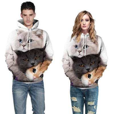 Double Side Printed 3D Cute Cat Hoodie-FreakyPet