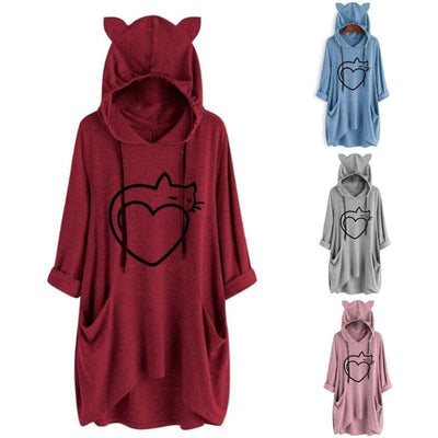 Twisted Tail Heart Cat Oversize Hoodie With Cat Ears-Home-FreakyPet