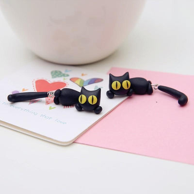 Curiously Cute Black Cat Earrings