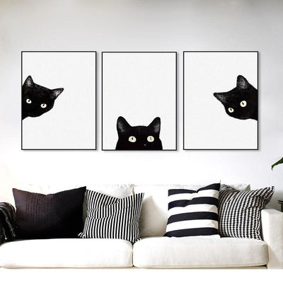 Black Cat Print Canvas Wall Art-Painting & Calligraphy-FreakyPet