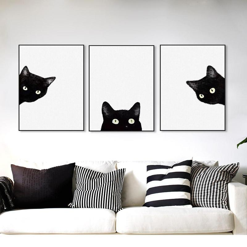 Black Cat Print Canvas Wall Art Unframed