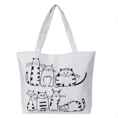 f166be9386 Canvas Cat Shopping Bag-Shoulder Bags-FreakyPet