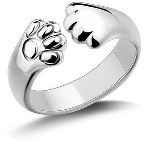 Silver Paw Claw Cat Ring