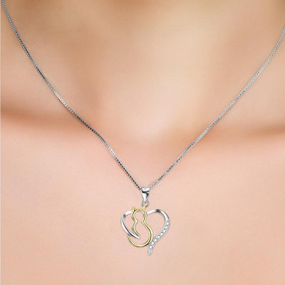 925 Sterling Silver Open Love Heart Cat Necklace-Pendant Necklaces-FreakyPet