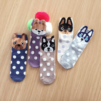 5 Pairs Cute Cartoon Dog Socks-Socks-FreakyPet
