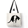 Double Side Printed Cute Black Cat Tote Bags-Top-Handle Bags-FreakyPet