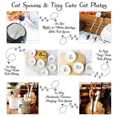 6pcs Tiny Cute Cat Plates-FreakyPet